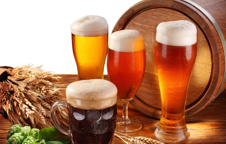 Photo wallpaper foam, table, glass, beer, mug, white background, glasses, ears, barrel, hops
