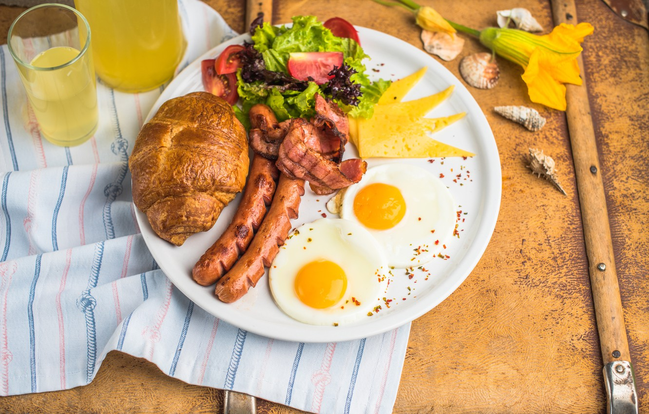 Photo wallpaper flowers, Breakfast, cheese, juice, shell, scrambled eggs, vegetables, sausage, bacon, salad, croissant