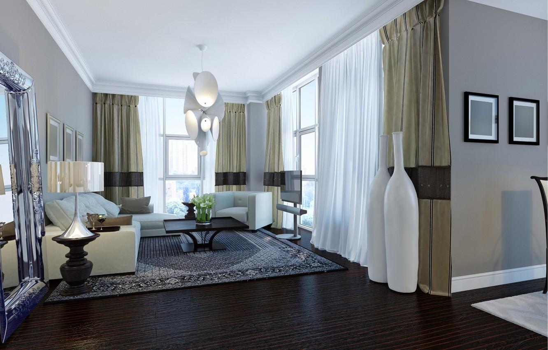 Photo wallpaper room, window, chandelier, curtains, living room