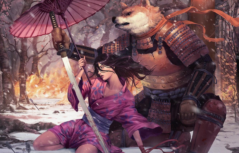 Photo wallpaper girl, sword, umbrella, soldiers, beast