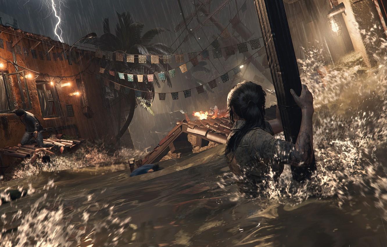 Photo wallpaper water, Tomb Raider, Lara Croft, Shadow of the Tomb Raider