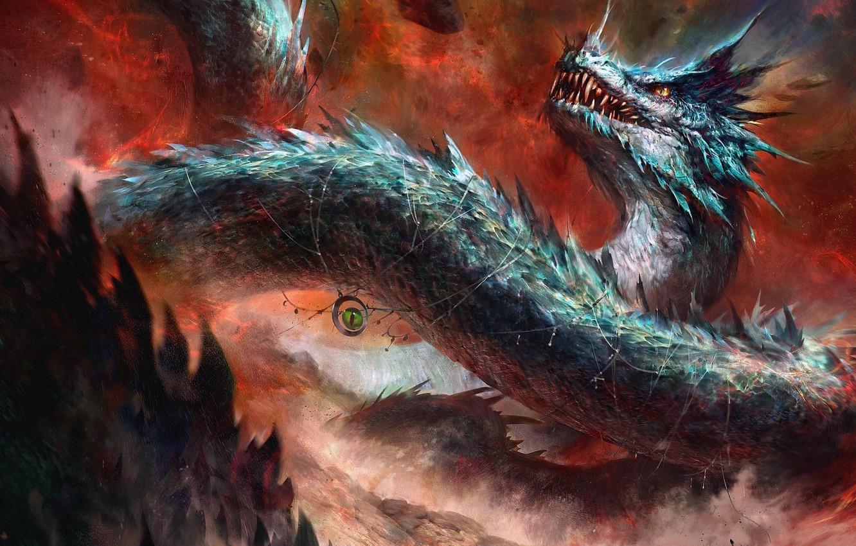 Photo wallpaper fantasy, Dragon, snake, digital art, artwork, fantasy art, creature