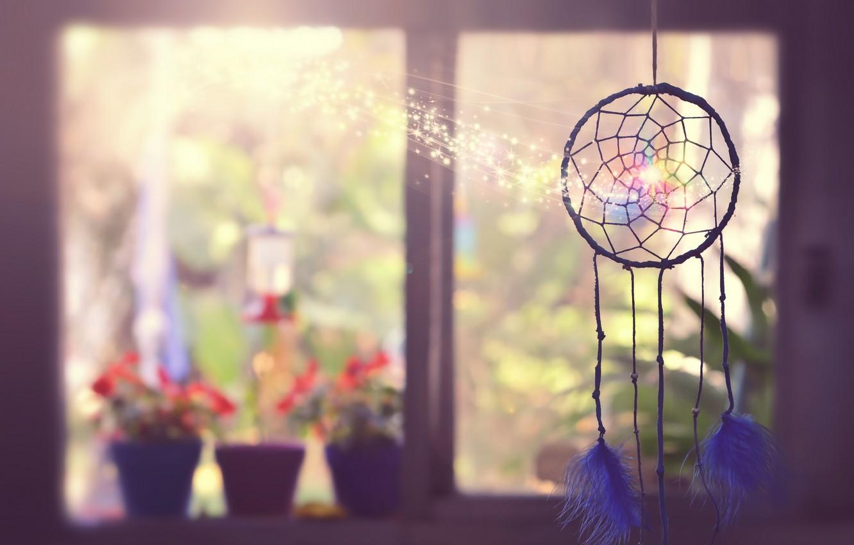 Photo wallpaper background, window, talisman, Dreamcatcher