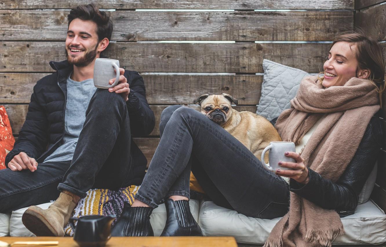 Photo wallpaper girl, joy, heat, tea, dog, jacket, guy