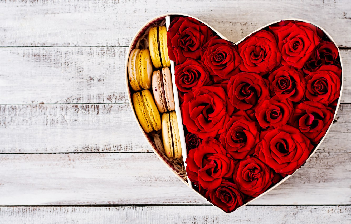 Photo wallpaper heart, Roses, buds, cakes
