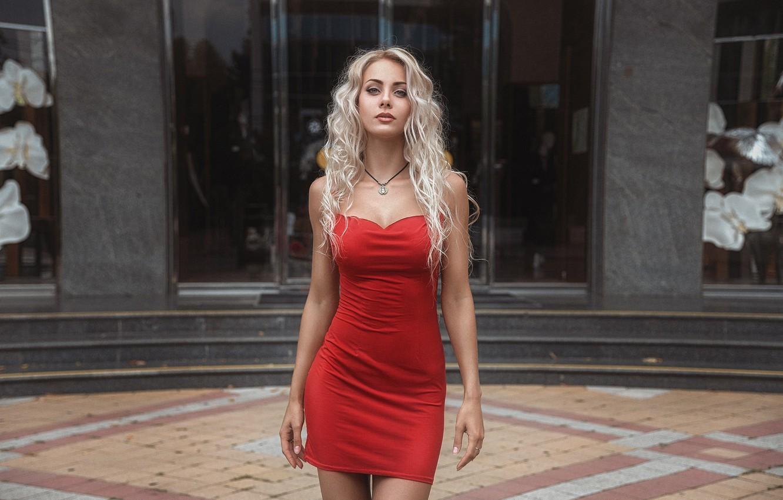 Photo wallpaper girl, cleavage, long hair, dress, legs, photo, photographer, blue eyes, model, bokeh, lips, face, blonde, …
