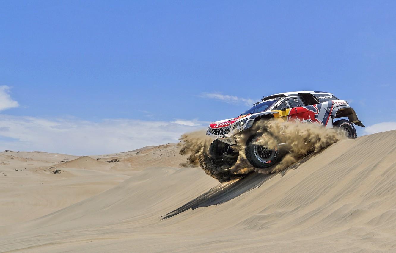 Photo wallpaper Sand, Auto, Sport, Machine, Speed, Race, Peugeot, Red Bull, Rally, Dakar, Dakar, SUV, Rally, Sport, …