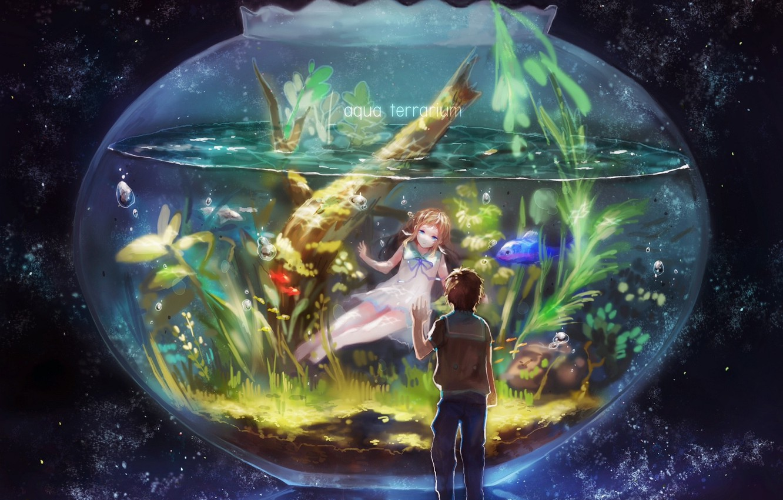 Photo wallpaper fish, algae, bubbles, aquarium, two, starry sky, Like no Asukara, Hike Zoar Sakishima, Manaka Mukaido, …