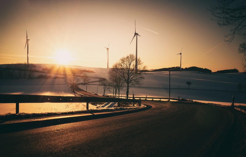 Photo wallpaper road, light, morning, windmills