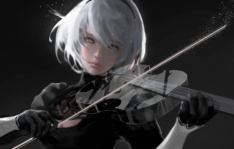 Photo wallpaper girl, violin, Silence, nier, Wlop, NieR: Automata, nier automata