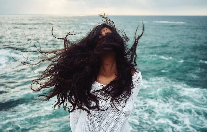 Photo wallpaper sea, girl, the wind, hair