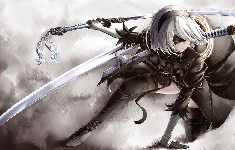 Photo wallpaper kawaii, Microsoft, girl, sword, game, robot, dress, woman, Square Enix, beautiful, katana, ken, face, blade, …