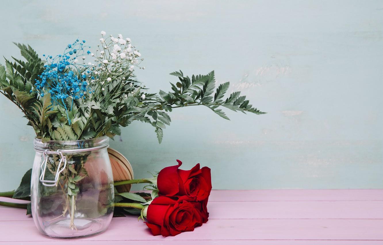 Photo wallpaper greens, flowers, roses, bouquet, vase