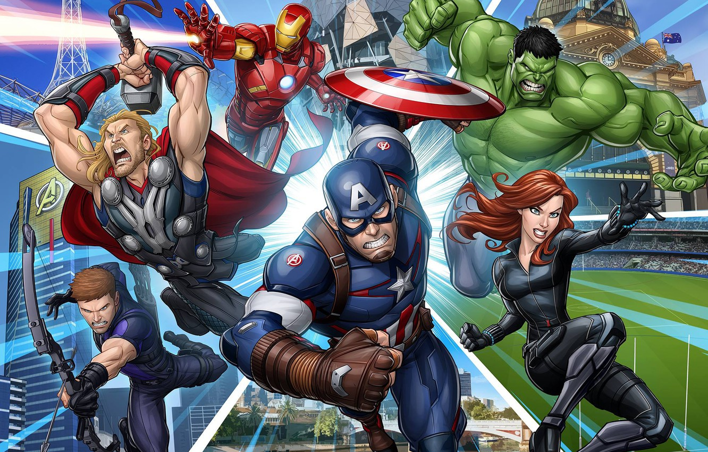 Wallpaper Art Hulk Captain America Thor The Avengers