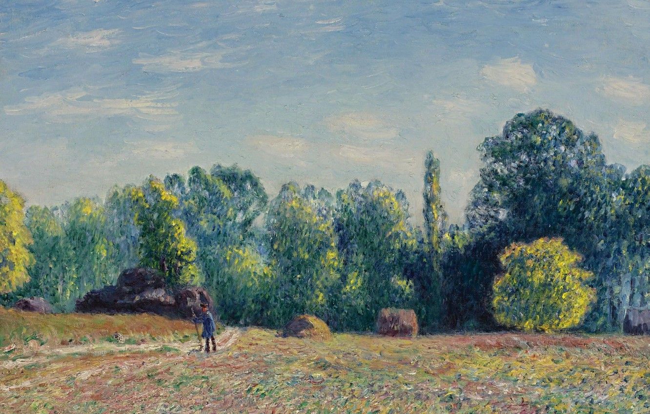Photo wallpaper field, landscape, picture, Alfred Sisley, Alfred Sisley, The Edge Of The Forest