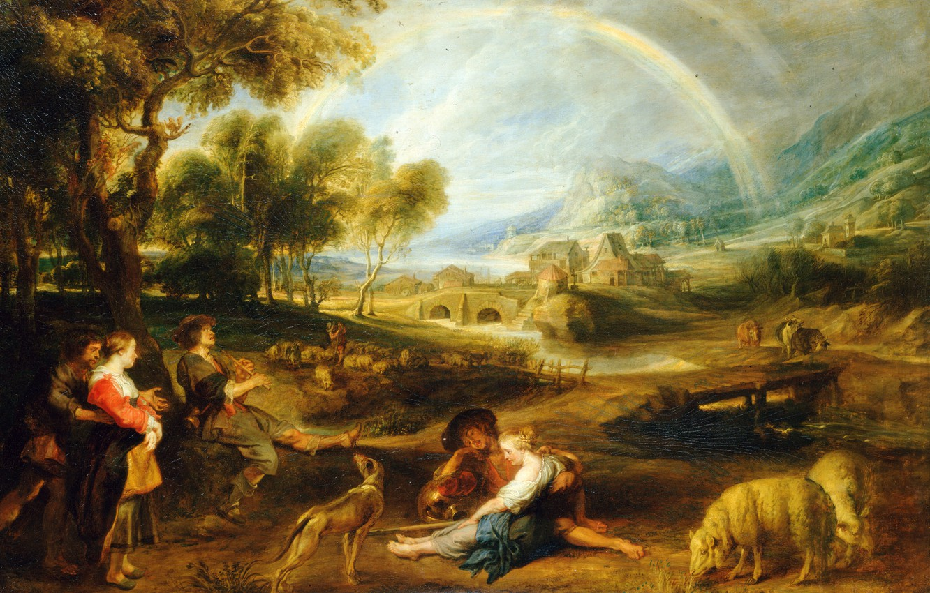 Photo wallpaper animals, people, picture, Peter Paul Rubens, Pieter Paul Rubens, Landscape with a Rainbow