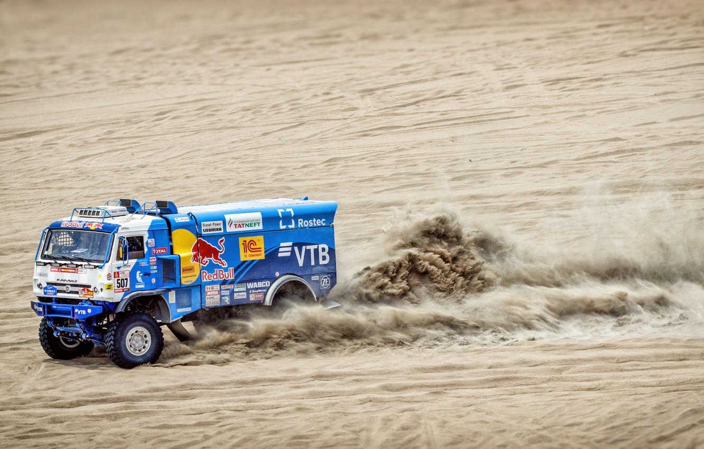 Photo wallpaper Sand, Auto, Speed, Truck, Race, Master, Russia, Kamaz, Rally, Dakar, Dakar, Rally, KAMAZ, 507, The …