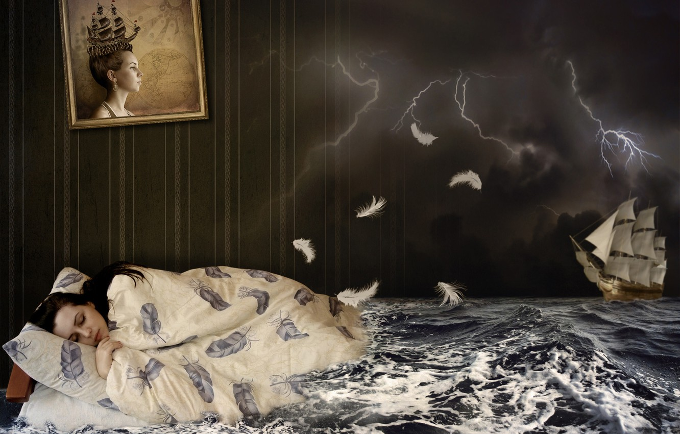 Photo wallpaper sea, the storm, wave, girl, night, clouds, creative, wall, zipper, ship, bed, sleep, sailboat, picture, …