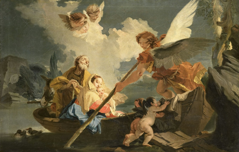 Photo wallpaper oil, picture, canvas, mythology, The flight into Egypt, Giovanni Battista Tiepolo