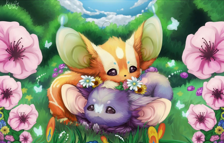 Photo wallpaper summer, flowers, art, kids, clearing, cutie, children's, Kuro Usagi, Darya Winter