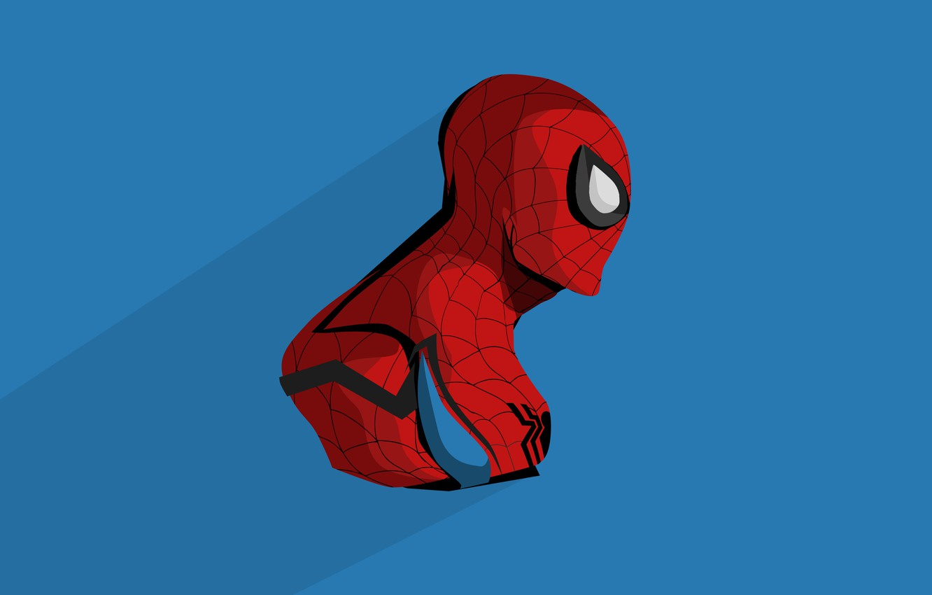 Photo wallpaper blue, red, background, art, costume, comic, MARVEL, Spider Man, Spider-Man