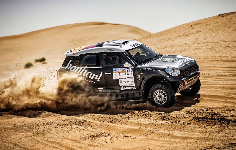 Photo wallpaper Sand, Mini, Black, Sport, Desert, Speed, Race, Rally, SUV, Rally, Dune, X-Raid Team, 210, MINI …