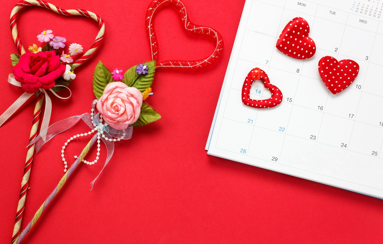 Photo wallpaper Flowers, Love, Hearts, Holiday, Valentine's day