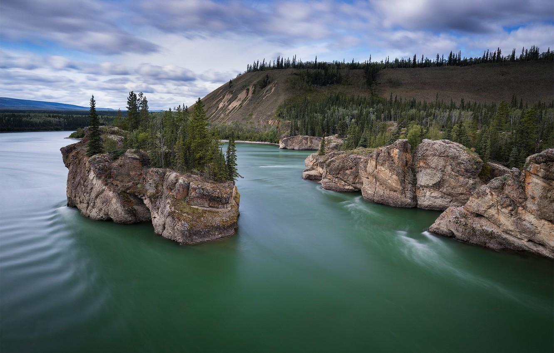 Photo wallpaper trees, river, rocks, Canada, Canada, island, Yukon, Yukon, Yukon River, The Yukon River