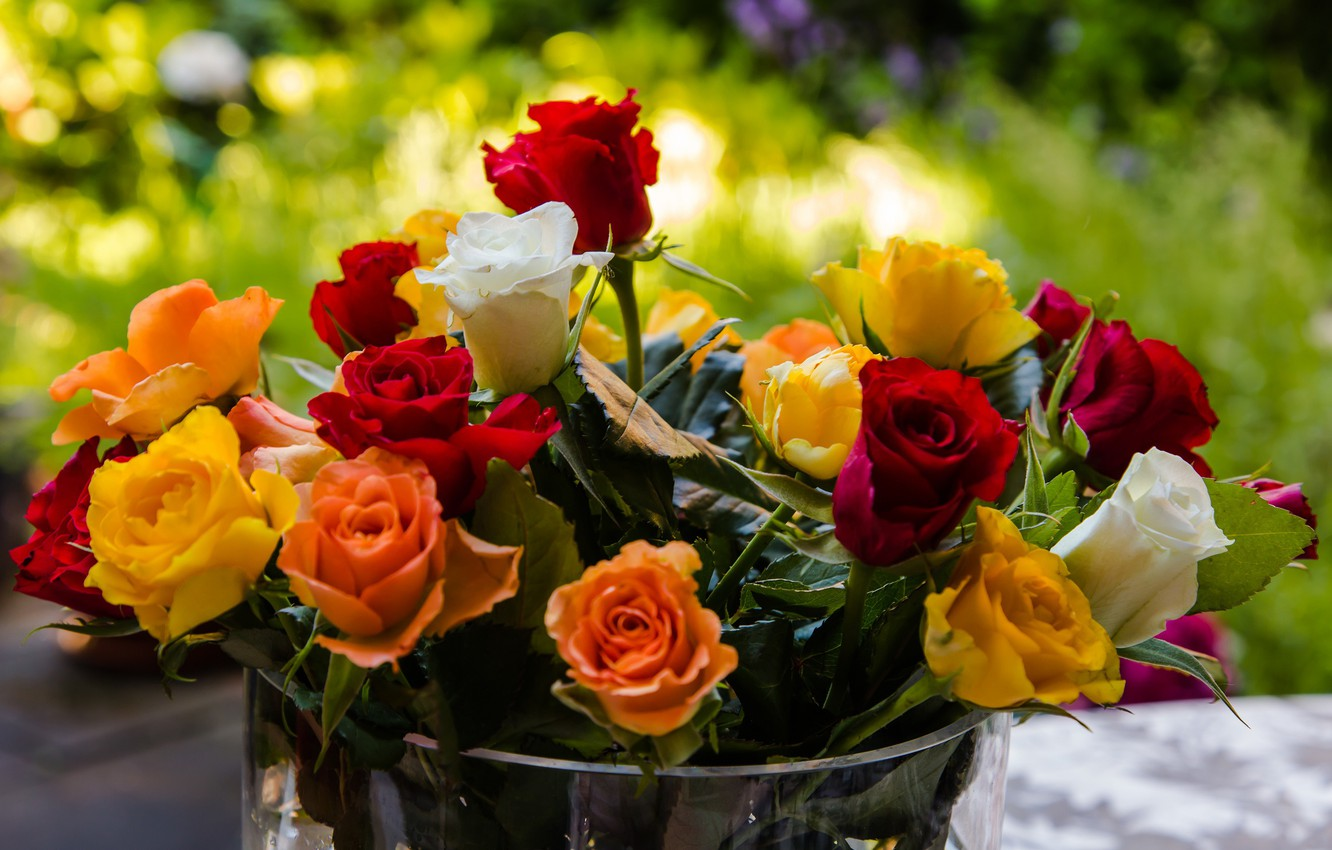 Photo wallpaper flowers, roses, bouquet, bucket