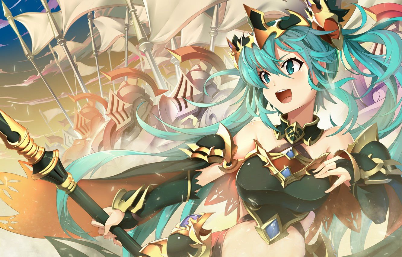 Photo wallpaper girl, weapons, anime, warrior, art, vocaloid