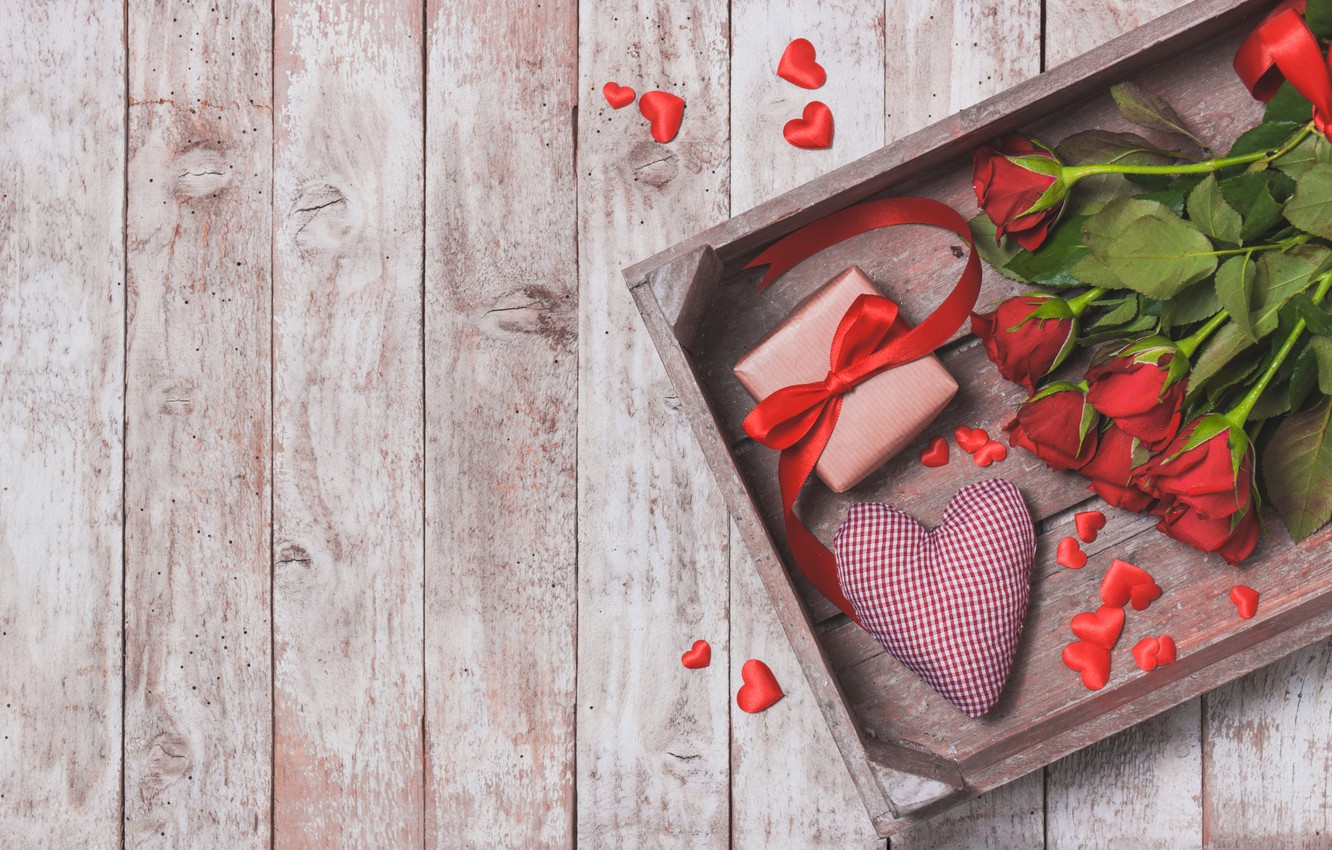Photo wallpaper gift, Love, roses, bouquet, hearts, red, heart, wood, gift, bouquet, roses, Valentine Day