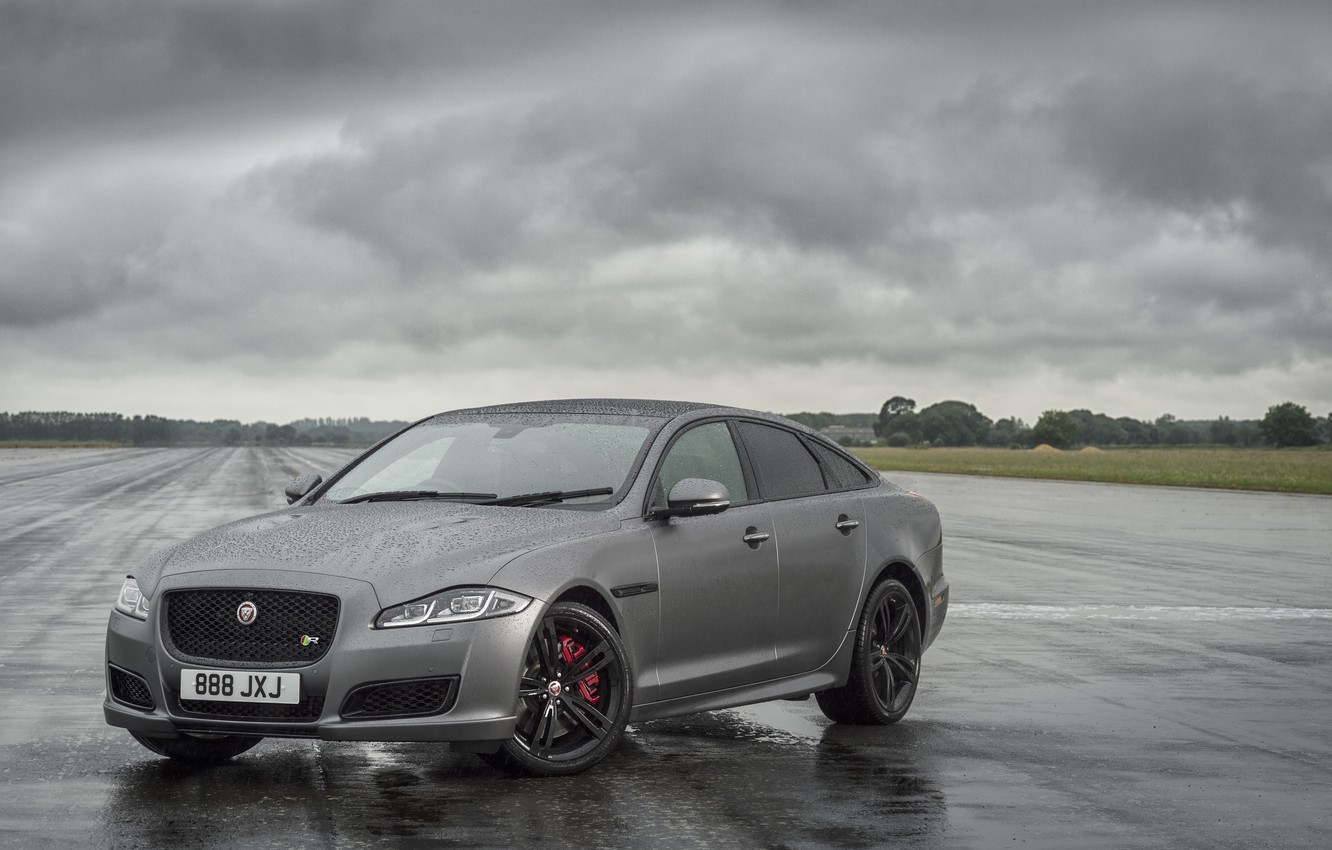 Photo wallpaper field, grass, asphalt, trees, clouds, rain, overcast, Jaguar, puddles, dampness, 2017, 575 HP, XJR 575