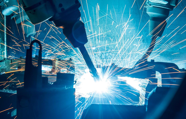 Photo wallpaper industrial, sparks, Machinery, robotic welders