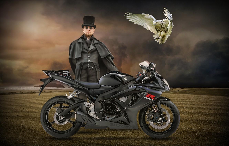 Photo wallpaper owl, bird, motorcycle, male, Suzuki