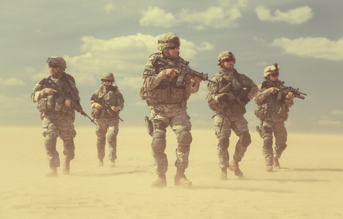 Wallpaper Desert Army Soldiers Usa Squad Us Army Images