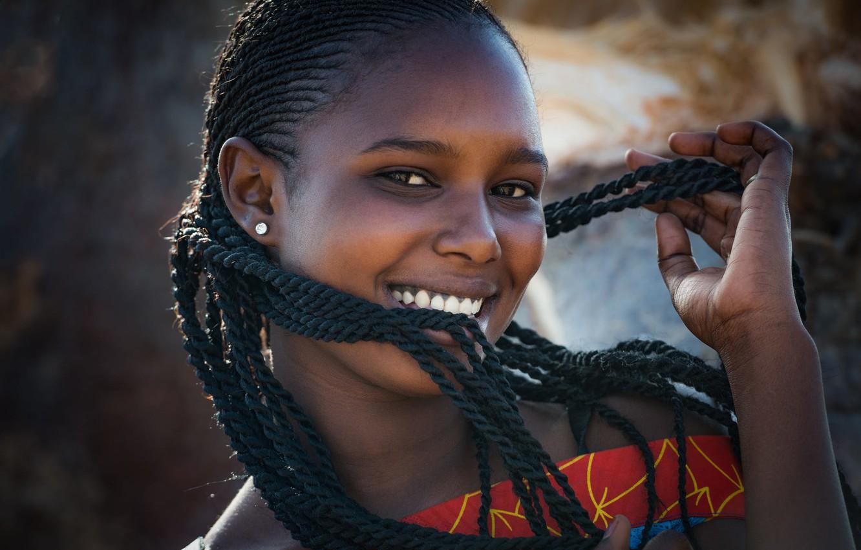Photo wallpaper laughter, braids, black girl, African portrait