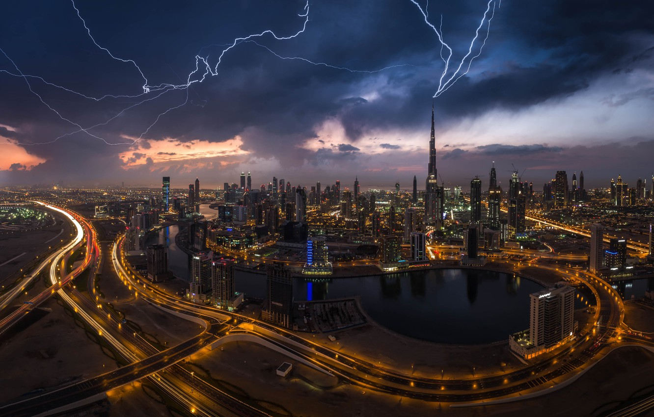 Photo wallpaper the city, lights, zipper, lightning, the evening, Dubai, UAE, Burj Khalifa