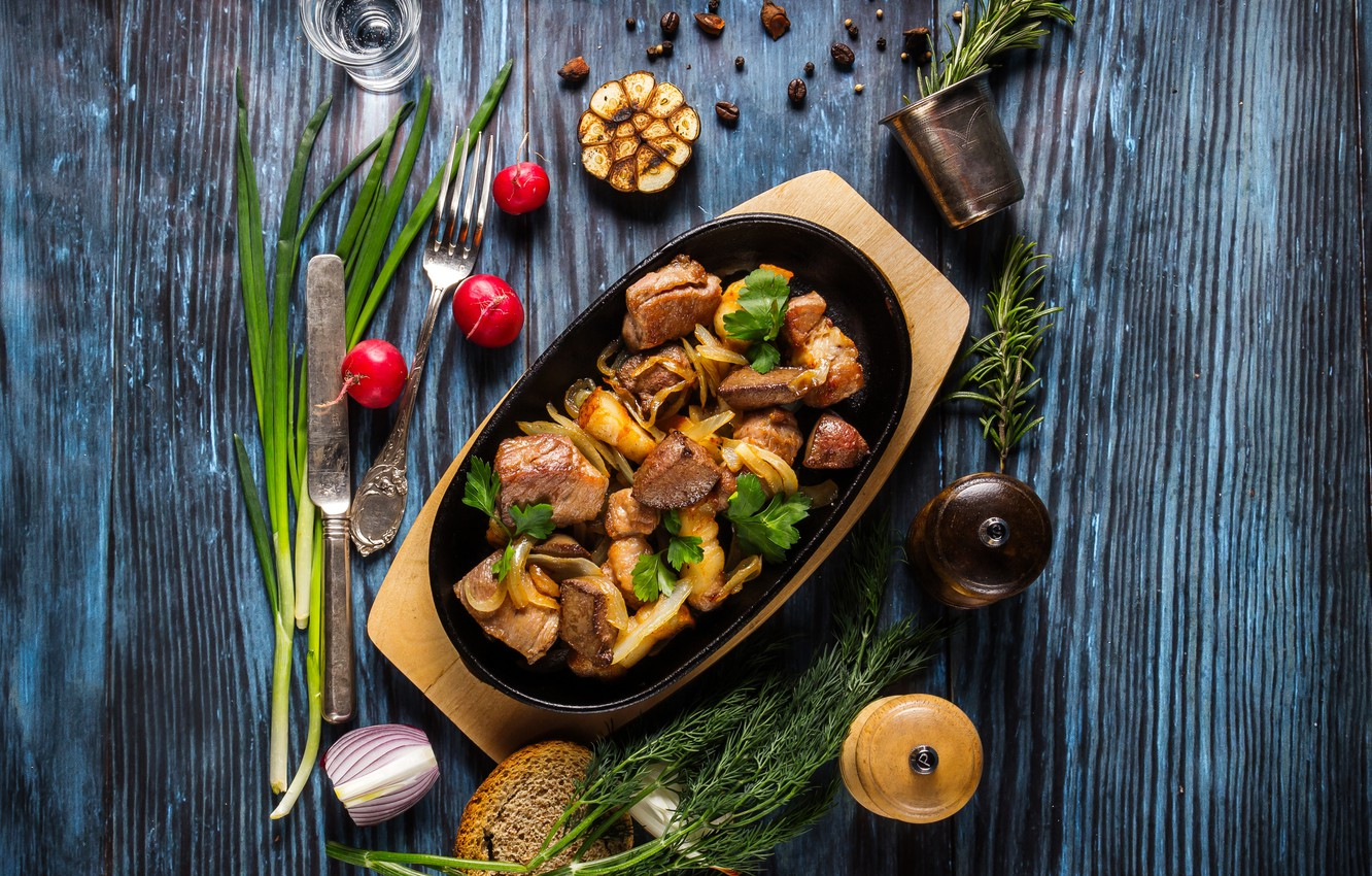 Photo wallpaper greens, meat, vegetables, wood, spices, potatoes, hot