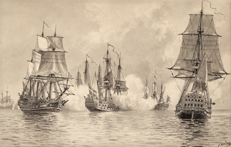 "Photo wallpaper black and white, naval battle, Jacob European Communities V United Kingdom, ""Konvojskeppet The battle with …"