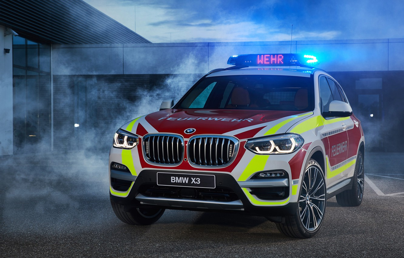 Photo wallpaper 2018, crossover, flashers, Fire, BMW X3, xDrive20d, fire protection