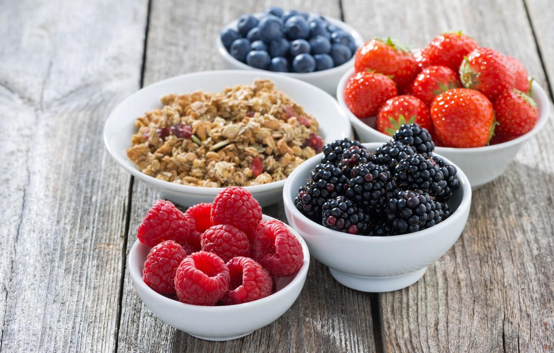 Photo wallpaper berries, raspberry, Breakfast, blueberries, strawberry, muesli, cereal