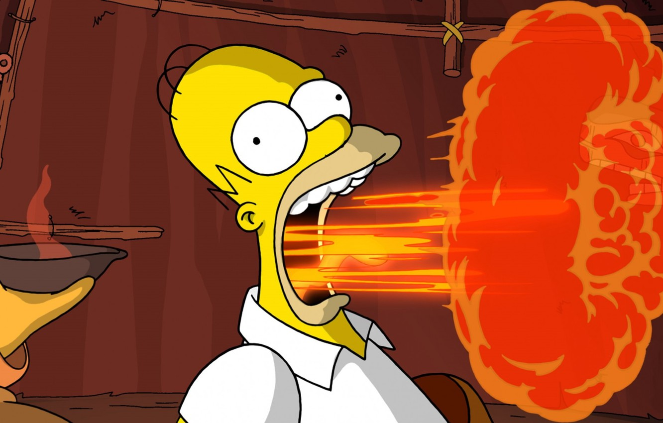 Photo wallpaper fire, flame, mouth, mug, The Simpsons, Homer Simpson, The simpsons, bald, bulging eyes, burp