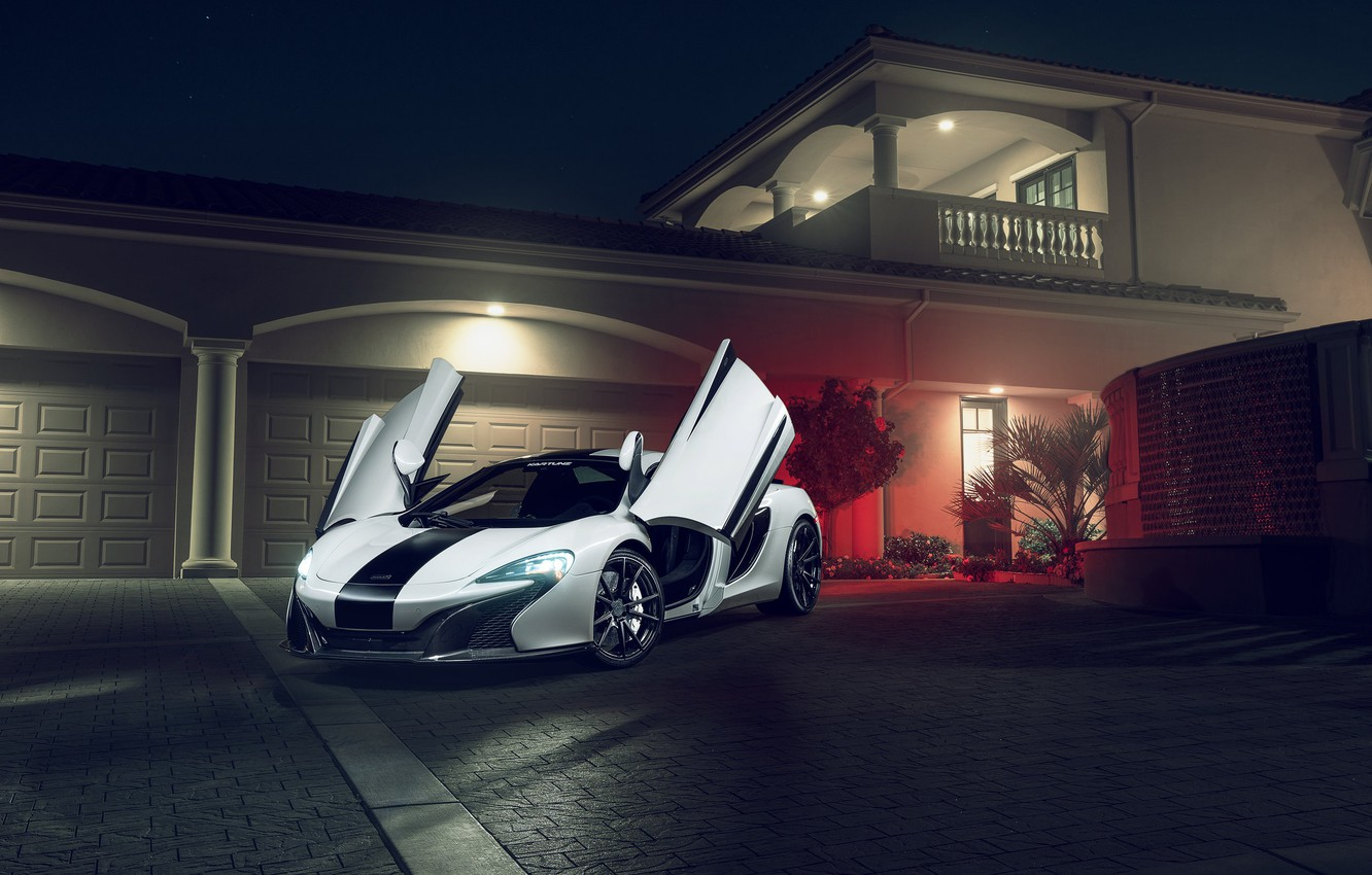 Photo wallpaper McLaren, Front, White, Supercar, 650S, KARTUNZ