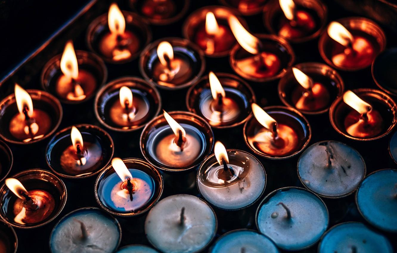Photo wallpaper fire, candles, burn