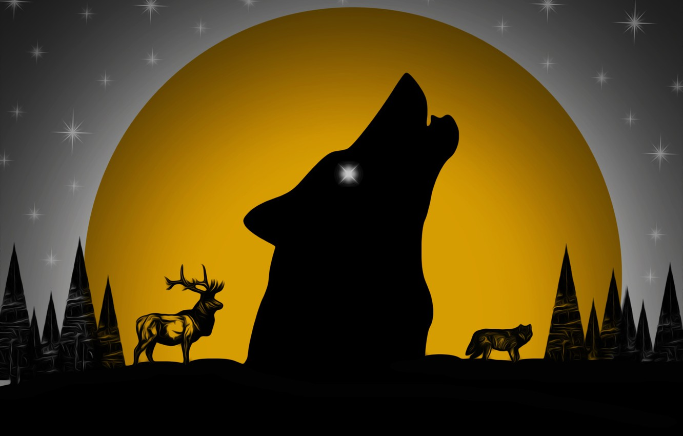 Photo wallpaper forest, the moon, wolf, deer, picture