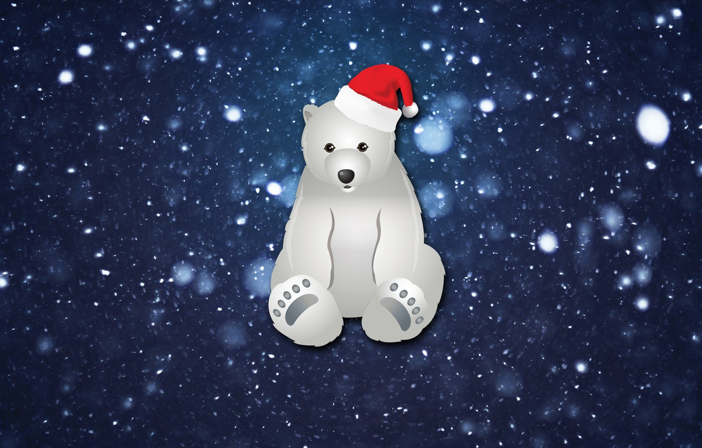 Photo wallpaper Winter, Minimalism, Snow, New Year, Bear, Background, Holiday, Mood, Polar bear
