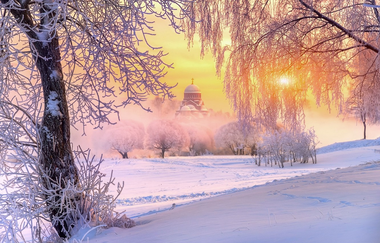 Photo wallpaper winter, frost, the sun, light, snow, trees, nature, temple, Russia