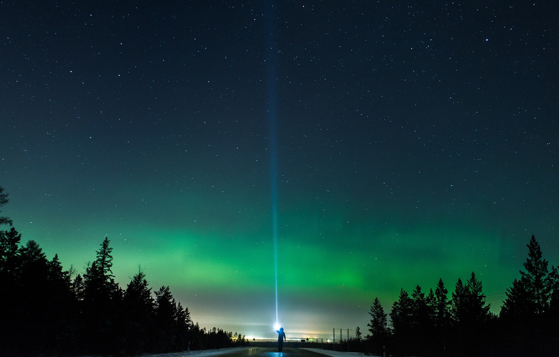 Photo wallpaper stars, Aurora, highway, the night sky, the flashlight beam
