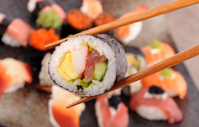 Photo wallpaper crab, fish, sticks, cucumber, figure, sushi, tuna, nori, omelette
