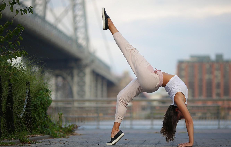 Photo wallpaper girl, pose, background, legs, gymnast